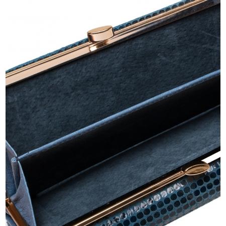 Кошелек Nina Farmina 8 темно синий кожаный