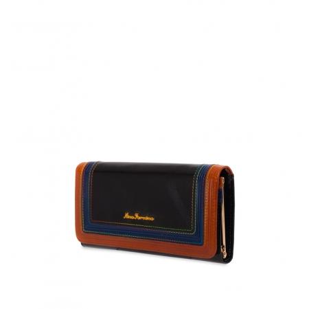 Кошелек Nina Farmina 9281 черный с декором кожаный