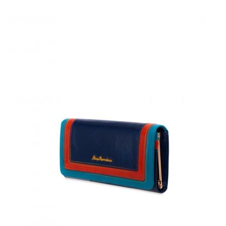 Кошелек Nina Farmina 9281 синий с декором кожаный