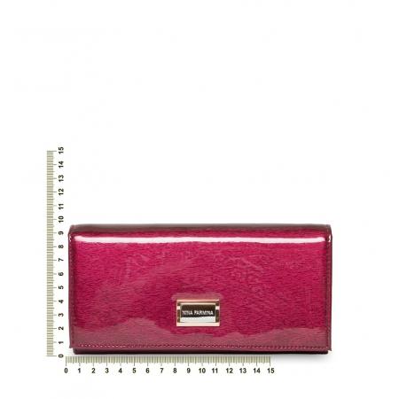Кошелек Nina Farmina 9281 темно розовый лаковый кожаный