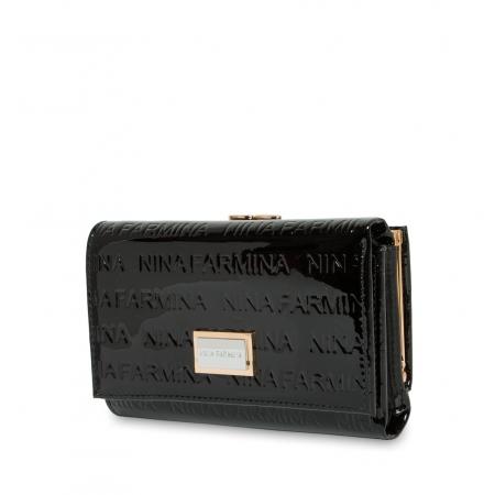 Кошелек Nina Farmina 9282-026 черный лаковый кожаный