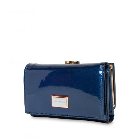 Кошелек Nina Farmina 9282-026 лаковый синий  кожаный