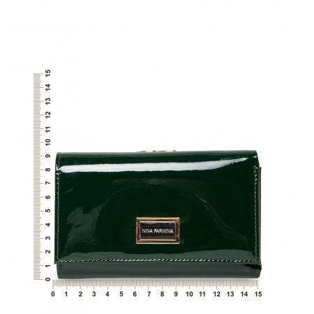 Кошелек Nina Farmina 9282-026 темно зеленый лаковый кожаный