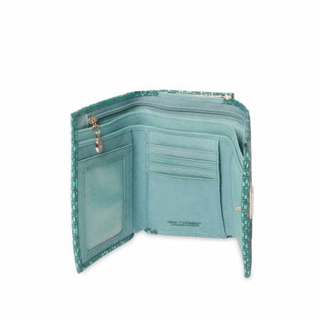 Кошелек Nina Farmina 9282-104 бирюзовый кожаный