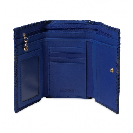 Кошелек Nina Farmina 9282-11 ярко-синий кожаный