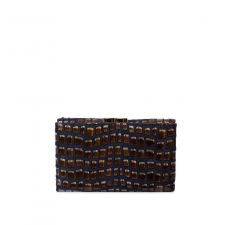 Кошелек Nina Farmina 9282-125 черно-синий кожаный
