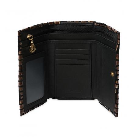Кошелек Nina Farmina 9282-127 черно-коричневый кожаный