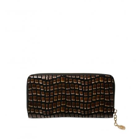 Кошелек Nina Farmina 9285-127 черно-коричневый кожаный