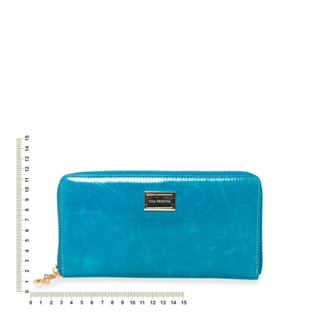Кошелек Nina Farmina 9285 голубой кожаный