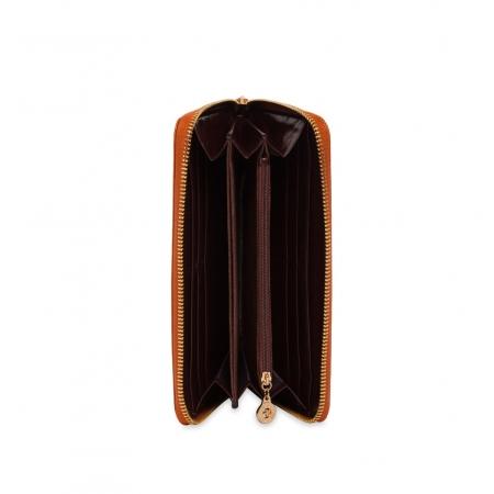 Кошелек Nina Farmina 9285 кофейный с декором кожаный