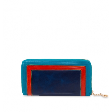 Кошелек Nina Farmina 9285 синий с декором кожаный