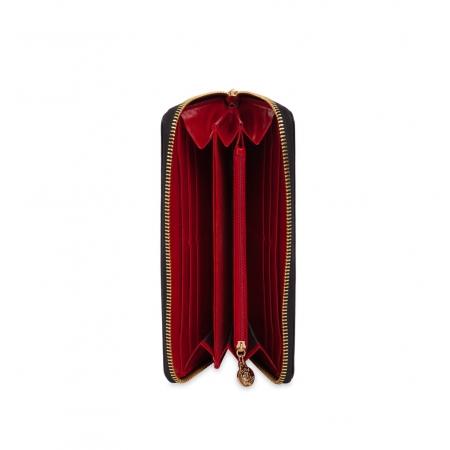 Кошелек Nina Farmina 9285 красный с декором кожаный