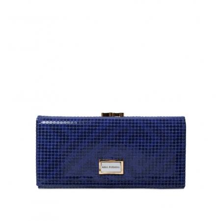 Кошелек Nina Farmina 9287-123 темно-синий кожаный