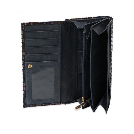 Кошелек Nina Farmina 9287-125 сине-коричневый кожаный