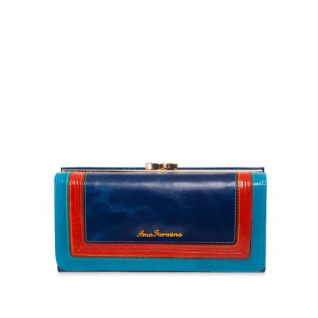 Кошелек Nina Farmina 9287 синийс декором кожаный