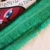 """Платок шерстяной """"Коты и кошечки"""" зеленый с добавлением шелковой нити"""