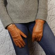 Перчатки женские кожаные рыжие