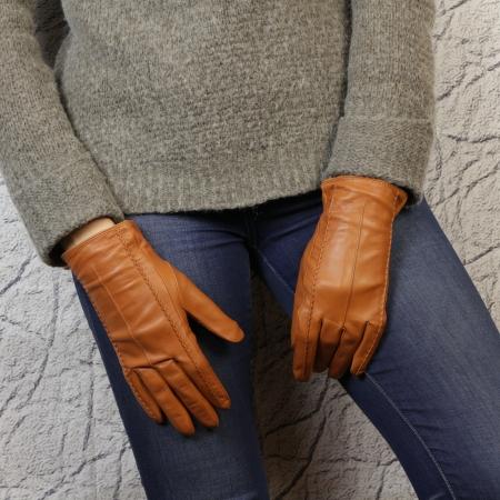 Перчатки кожаные цвет рыжий