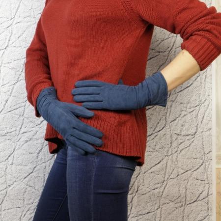Перчатки замшевые цвет средне-синий