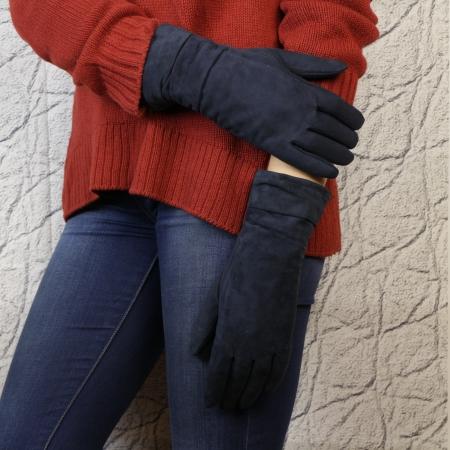 Перчатки замшевые цвет темно-синий