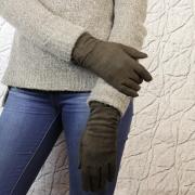 Перчатки женские замшевые коричневые