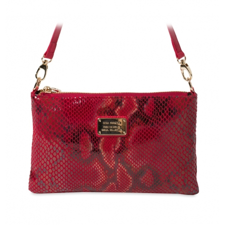 Клатч Nina Farmina 1209-116 красный кожаный