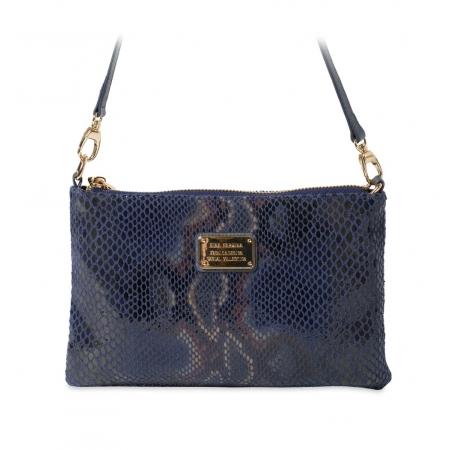 Клатч Nina Farmina 1209-122 синий кожаный
