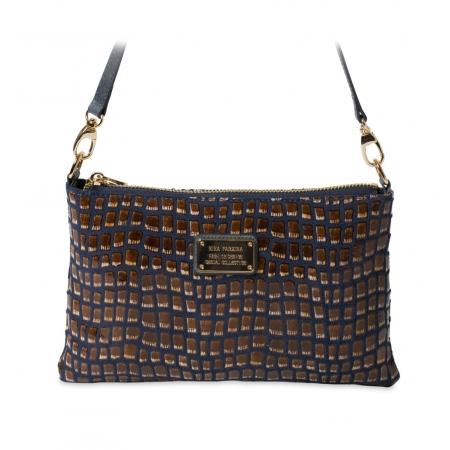 Клатч Nina Farmina 1209-125 синий кожаный