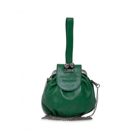 Клатч Nina Farmina 420 темно-зеленый кожаный