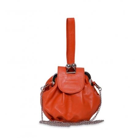 Клатч Nina Farmina 420 оранжевый кожаный