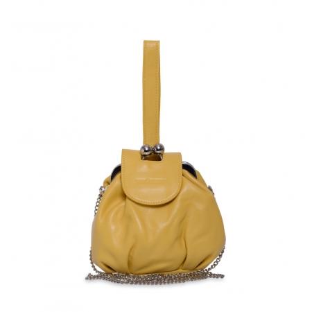 Клатч Nina Farmina 420 желтый кожаный