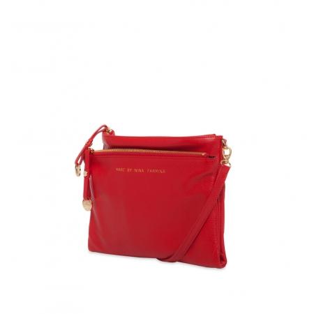Клатч Nina Farmina 522C красный кожаный